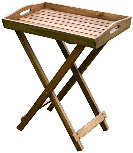colourliving Tablett mit Ständer Tisch Grilltisch Serviertablett Beistelltisch klappbar 60x40x70 cm Gartentisch