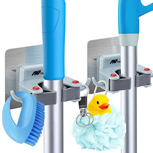 FITFORT Gerätehalter Besenhalterung Besen Mop Halter mit Haken-Selbstklebende Wandhaken Ohne Bohren für Tür Garage Küche Badezimmer Garten Mehrzweckhaken