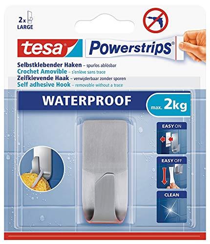 tesa Powerstrips Haken wasserfestSelbstklebende Halterung aus rostfreiem Edelstahl für Dusche Bad und Küche max 2 kg 3 Packungen