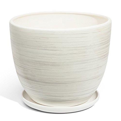 Keramik Blumentopf Übertopf Keramik weiss Ø 130 mm Schale weiss Pflanzschale inkl Untersetzer Keramikschüssel