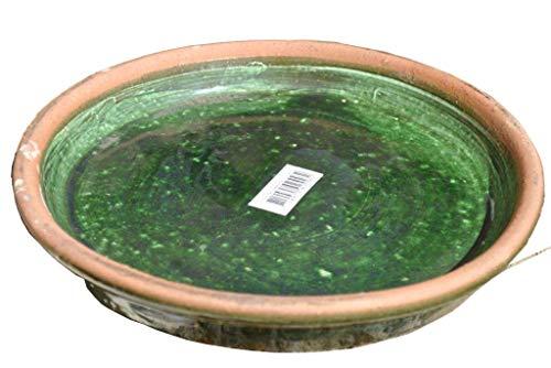 Kunert-Keramik Untersetzergrün glasiertSteingut22cmauch als Vogeltränke nutzbar