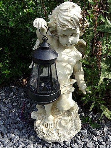 SSITG Deko Figur Engel mit LED Solar Laterne Statue Gartenfigur Engel Skulptur 42 cm