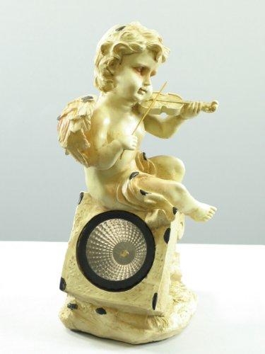 Wunderschöne LED Solar Gartenleuchte Solar Gartenstrahler Engel mit Geige mit kunstvoll geformter Figur aus Polyethylin Dekofigur