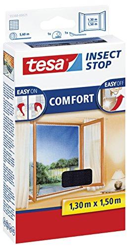 2 Stück tesa Insect Stop COMFORT Fliegengitter für Fenster  Insektenschutz mit selbstklebendem Klettband in Anthrazit  130 cm x 150 cm