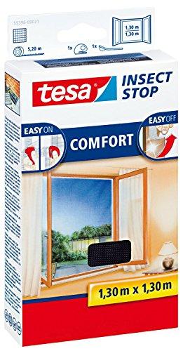 tesa Fliegengitter Comfort für Fenster - beste tesa Qualität - anthrazit durchsichtig 4er Spar-Pack 130 m x 130 m
