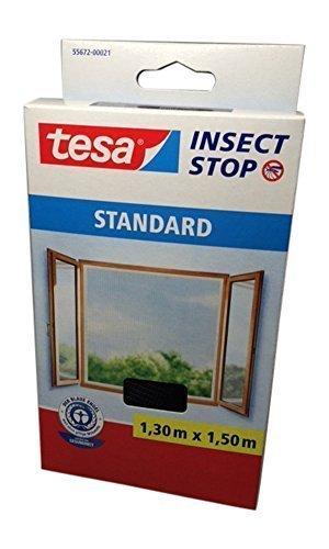 tesa Fliegengitter für Fenster Standard Qualität 130m x 150m  4er Spar-Pack anthrazit