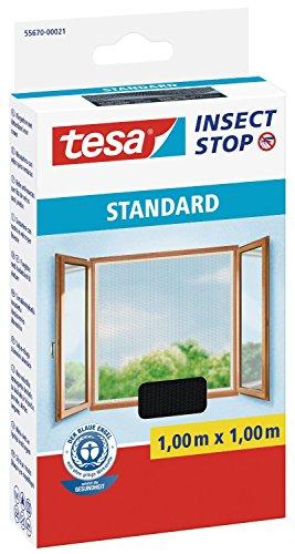 tesa Fliegengitter für Fenster Standard Qualität 1m1m  4er Spar-Pack anthrazit