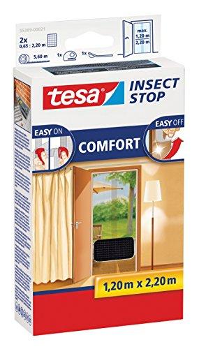 tesa Insect Stop Fliegengitter COMFORT für Türen anthrazit durchsichtig 120 m x 220 m 2er Pack