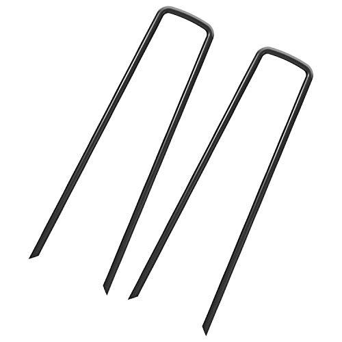 100 Erdanker - 150mm x 25mm x 30mm für Unkrautvlies Erdnägel aus Stahl im Set zur Befestigung von Unkrautflies Unkrautfolie oder fürs Camping - Erdpieß Erddübel Bodenankergardenstaple_B_100_UK