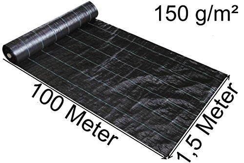 EXCOLO 100 m x 15m  150m² Unkrautvlies Bodengewebe Unkrautfolie Mulchvlies Schwere hochwertiges Vlies 150gm² Sandkastenvlies Unterbodengewebe Bändchengewebe