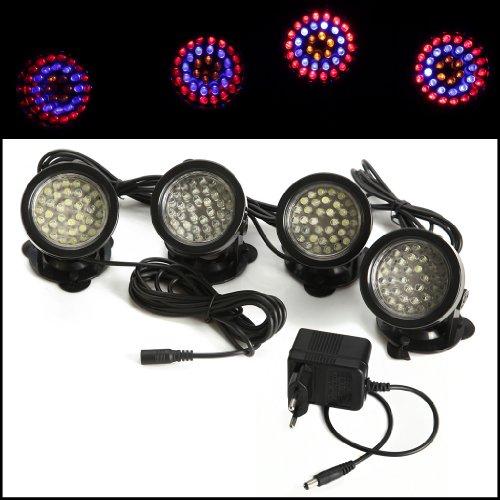 4pcs Super 36 LED Färbige unterwasserleuchte Strahler Beleuchtung Unterwasser Lampe wasserdicht Lichter Außenstrahler Spotlight für Garten Aquarium Teich Schwimmbad