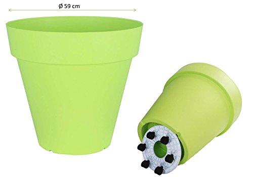 Rollbarer XXL Pflanzkübel aus Kunststoff in peppigem Limette Maße Ø 59 x H 54 cm 85 Liter Volumen Auch als Mini-Teich einfach toll