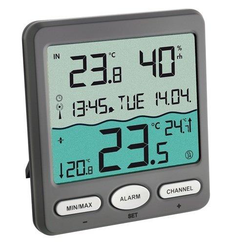 TFA Dostmann TFA Venice 30305610 zur Überwachung der Wassertemperatur in Pool Teich oder Whirlpool Digitales Funk-Poolthermometer Kunststoff Grau