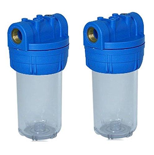 2 Filtergehäuse 5 Zoll mit 1 Zoll Wasseranschluß Innengewinde Wasser Vorfilter Gehäuse osmoseanlage Wasserfilter Umkehr Osmose Filter Anlage Hauswasserwerk Brunnen Regenwasser Pumpe Poolfilter