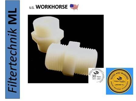 34 Zoll auf 34 Zoll DOPPELNIPPEL Verbindungsstücke HART-Plastik Weiss-Transparent Wasserfilter Osmose Filter Umkehrosmose