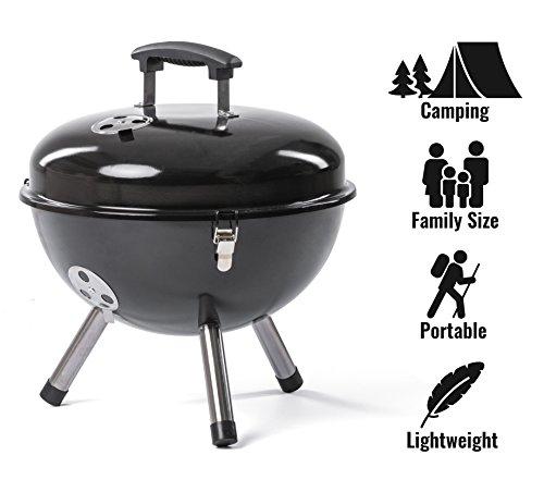 Rosmarino Hochwertige Mini Grill für Camping - Tragbare Picknick Kugelgrill aus Edelstahl - No1 Klappgrill für Romantisches Grillen