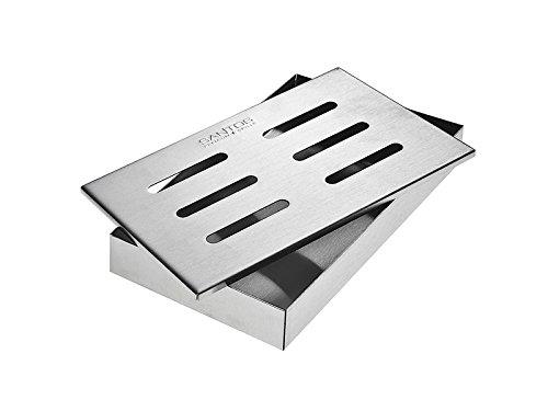 Santos Smokerbox Räucherbox Edelstahl Grillzubehör für Gasgrill Kohlegrill und Kugelgrill  Aromabox Maße 21x13x34 cm