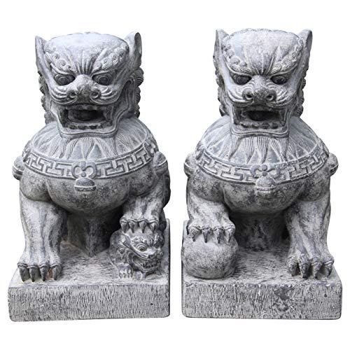 Ciffre 2 er Set Chinesischer Löwe ca 50cm ca 40 Kilo Antik Look Massiv Steinfigur Skulptur Feng Shui Garten Deko Wetterfest Lawa Steingus