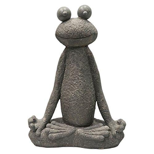 SVITA Yoga Frosch Garten-Figur Feng Shui Statue Meditation Reiki Outdoor Skulptur 60 cm Lotus 2