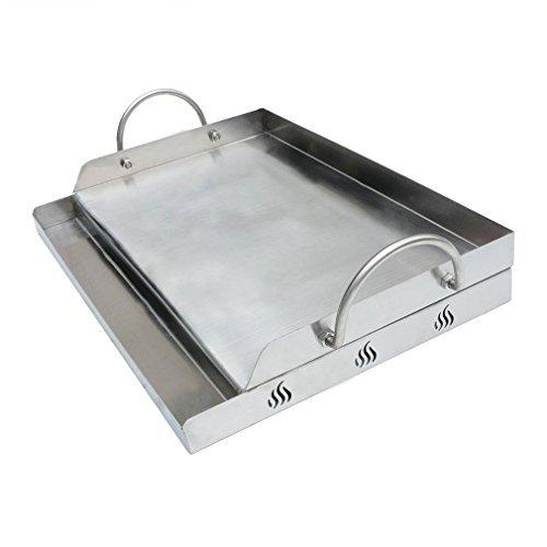 Onlyfire Universal BBQ Edelstahl Plancha Grillplatte Griddle für Holzkohle Grillwagen Gasgrill und mehr RechteckigB 51x T 32 x H 7cm
