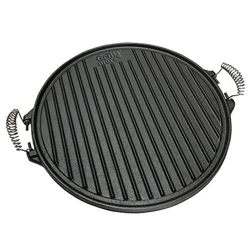 GRILL MORE Essentials 2 in 1 Grillplatte Wendeplatte Gusseisen Durchmesser 43 cm rund
