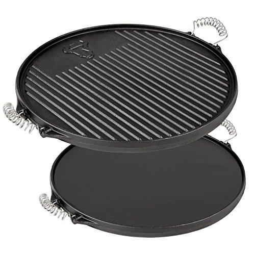 BBQ-TORO Gusseisen Wendegrillplatte Ø 43 cm rund bereits eingebrannt sofort einsatzbereit