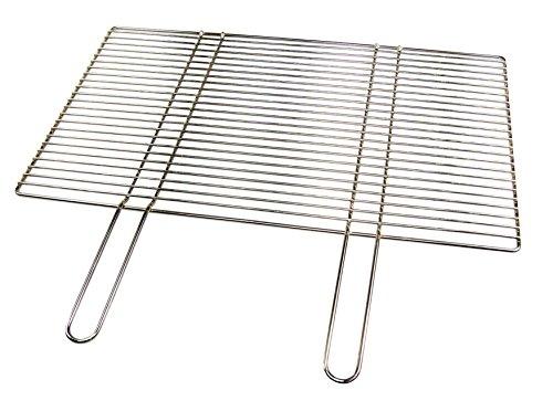 Aktiona Edelstahl Grillrost 67 x 40 cm mit festen Handgriffen  nur 10 mm Stababstand