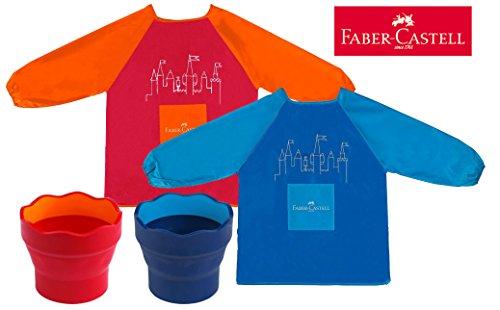 Faber-Castell  Kinder-Malschürze  Blau  Rot  Orange Schürze  Becher