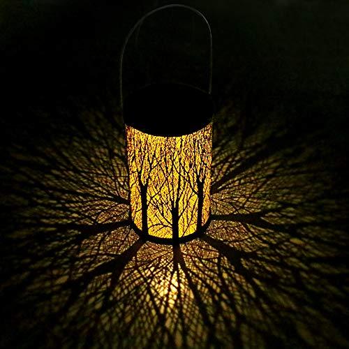 Yokunat LED Solar Laterne für Draußen Solar Garten Hängende Laterne Zylinderförmige Nachtlicht Wasserdicht IP44 mit Lichtempfindlichkeit für VerandaRasenHofGehwegAuffahrtWeihnachten