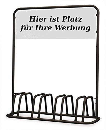 Euro Windkat 4er Fahrradständer mit Werbeschild Schwarz