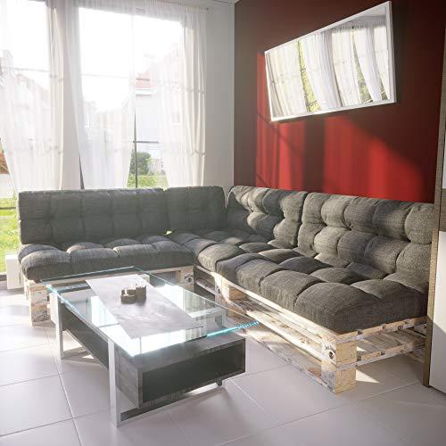 MSS Palettenkissen 7er Set Palettenpolster Extra Dick Sitzkissen  Rückenkissen  Seitenkissen Euro Palettenauflage Gartenlounge in Anthrazit Struktur