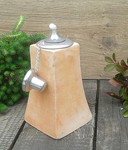 Öllampe 20 cm echt Terracotta Terrakotta Garten Deko Gartenfackel Pyramide Windlicht