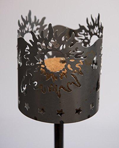 AS Metall Fackel Sonne auf Stab 128 cm Beleuchtung Windlicht Gartenstecker Feuer