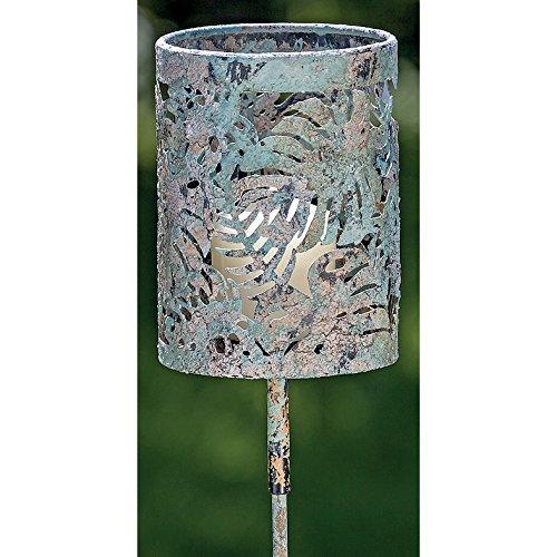 Deko-Kompanie 037743 Gartenstab Windlicht m Vintage Blätter Metall Gartenfackel grün 136cm