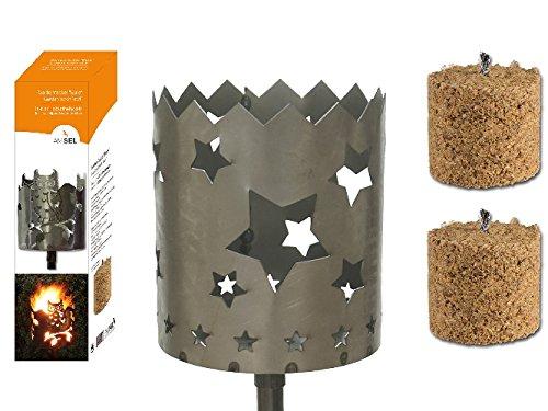 Gartenfackel auf Stecker Sterne aus Metall Höhe 128 cm  Ø 15cm INKL 2 Holzbrennelementen Garten Sommer Fackel Windlicht