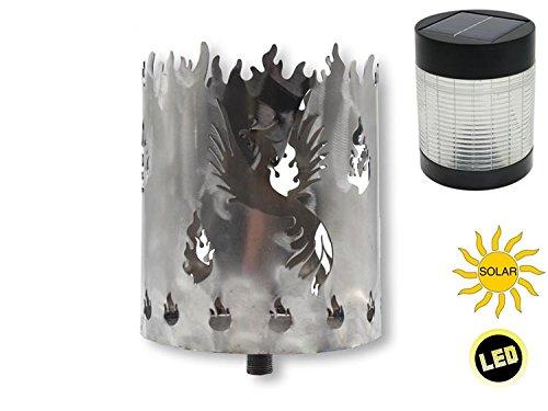 Unbekannt Gartenfackel auf Stecker Phönix aus Metall INKL LED-SOLARLAMPE Höhe 128 cm Ø 15cm Garten Sommer Fackel Windlicht