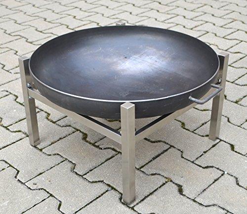 Köhko Designer-Feuerschale Ø 79 cm  2 Griffen mit Edelstahlstandfuß in H-Form 42017-41002