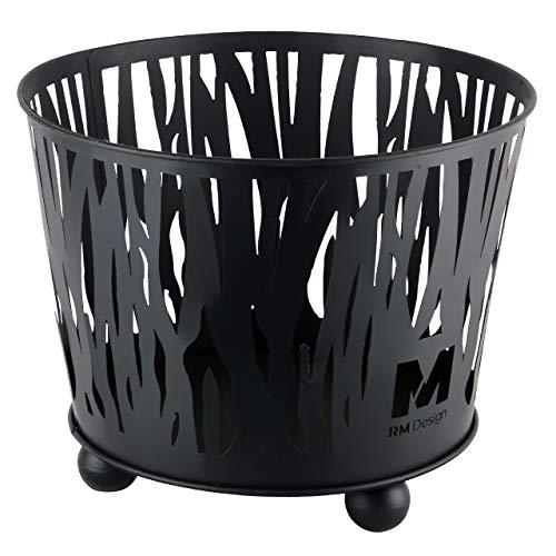 RM Design Feuerschale aus Metall in schwarz Ø 39 cm TerrassenofenTerrassenkamin als Feuerkorb für den Garten