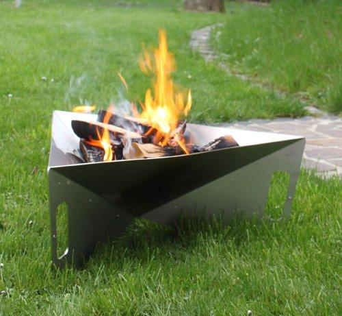 Thorwa Design Feuerschale Triangle 75cm aus witterungsfestem Edelstahl V2A - Feuerkorb Feuerstelle für Garten  Terrasse