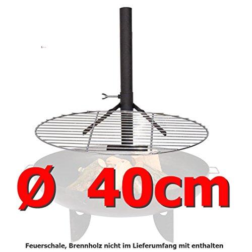 Grillrost 40cm mit Halterung für Feuerschale  Feuerkorb Grill Klemme