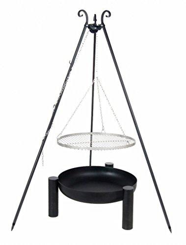 Belladecora Schwenkgrill Komplett-Set mit Edelstahl-Rost 50 cm Feuerschale 60 cm Dreibein 180 cm und Kette