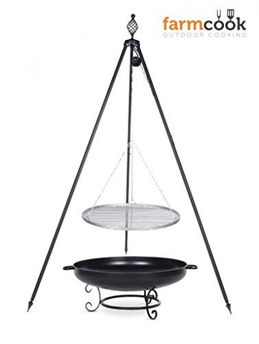 Dreibein Grill OSKAR Höhe 210cm  Grillrost aus Edelstahl Durchmesser 60cm  Feuerschale Pan42 Durchmesser 70cm