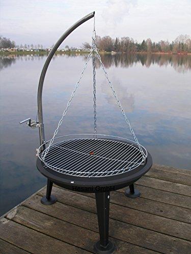 HESANI 10360-160 cm chrom Schwenkgrill Grill Grillarm aus Edelstahl Grillrost Feuerschale Feuerkorb
