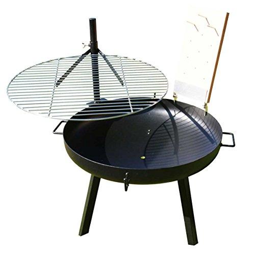 AKTIONA 70cm Feuerschale Edelstahl Schwenkgrill 60cm Flammlachs  1 Edelstahlhalterung mit XL Buchenbrett Grillbürste