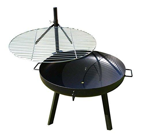 AKTIONA B-Ware Massive 70cm Feuerschale mit Edelstahl Schwenkgrill 60cm  Grillbürste Höhenverstellbar Grill