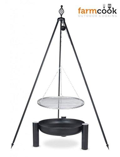 Dreibein Grill OSKAR Höhe 210cm  Grillrost aus Edelstahl Durchmesser 60cm  Feuerschale Pan38 Durchmesser 70cm
