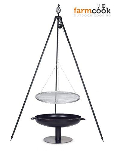 Dreibein Grill OSKAR Höhe 210cm  Grillrost aus Edelstahl Durchmesser 60cm  Feuerschale Pan41 Durchmesser 70cm
