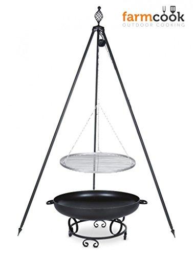 Dreibein Grill OSKAR Höhe 210cm  Grillrost aus Edelstahl Durchmesser 60cm  Feuerschale Pan43 Durchmesser 70cm