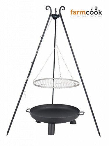FARMCOOK Schwenkgrill VIKING Dreibein mit Grillrost aus Edelstahl mit Feuerschale PAN37 in 4 Größen Rost Ø 70 cm Feuerschale Ø 80 cm