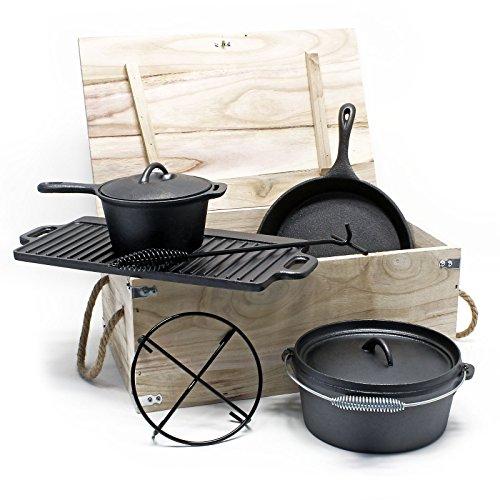 Wiltec Dutch Oven Set Gusseisen 6-TLG Kochzubehör für Camping Outdoor